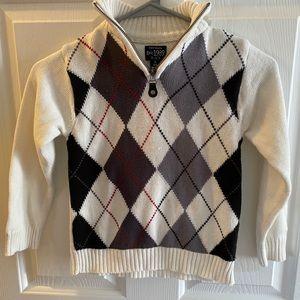 CP Boys half zip up white argyle sweater. 5/6
